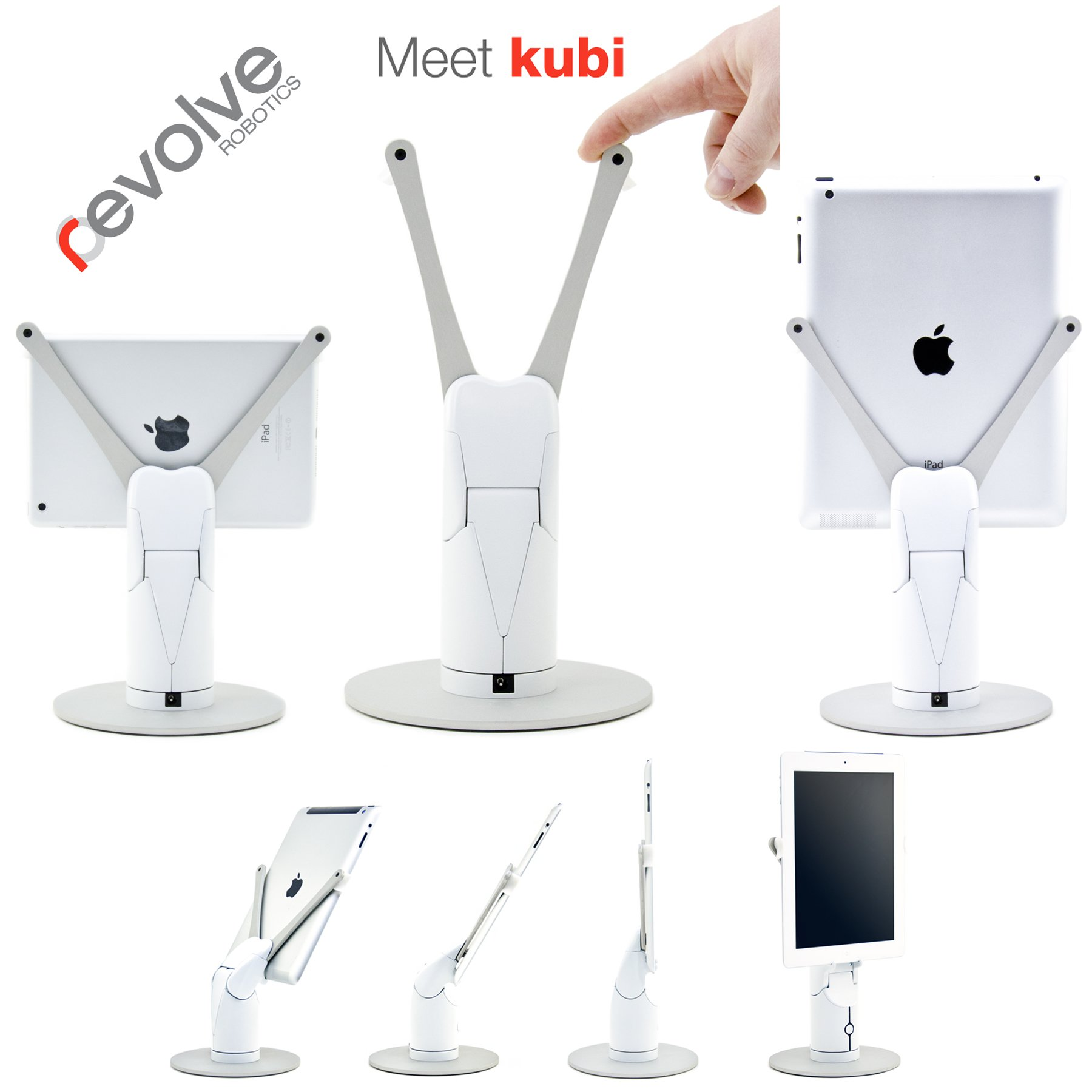 KUBI Secure iPad Air/Air2 Telepresence Robot with Keyed Kensington-style lock with 3' cable, Web controlled Video Conferencing Robotic Desktop Tablet Stand with Far End Camera Controls by Kubi
