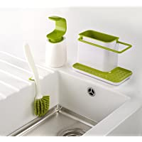 Joseph Joseph 3-Piece Kitchen Sink Set with Caddy, Edge Dish Brush and C-Pump (White/Green)