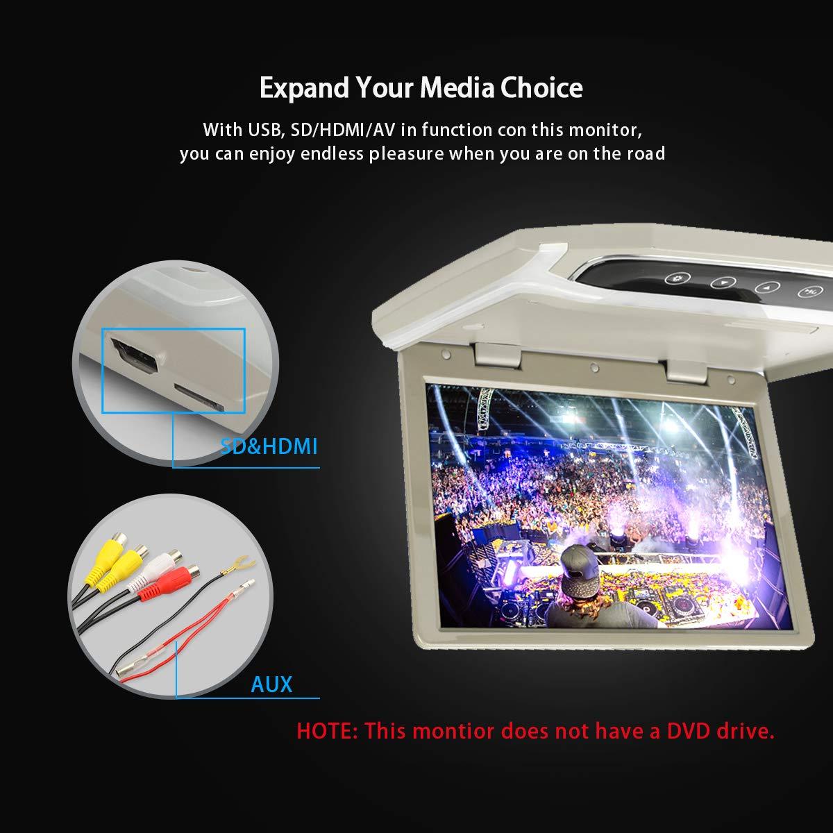 MiCarBa 10,1 Pouces Flip Down Moniteur pour Voiture 1080p HD LCD TFT Voiture Toit Mount Monitor Ultra Mince Overhead Lecteur vid/éo HDMI SD MP3 MP4 avec LED 102HD-GR