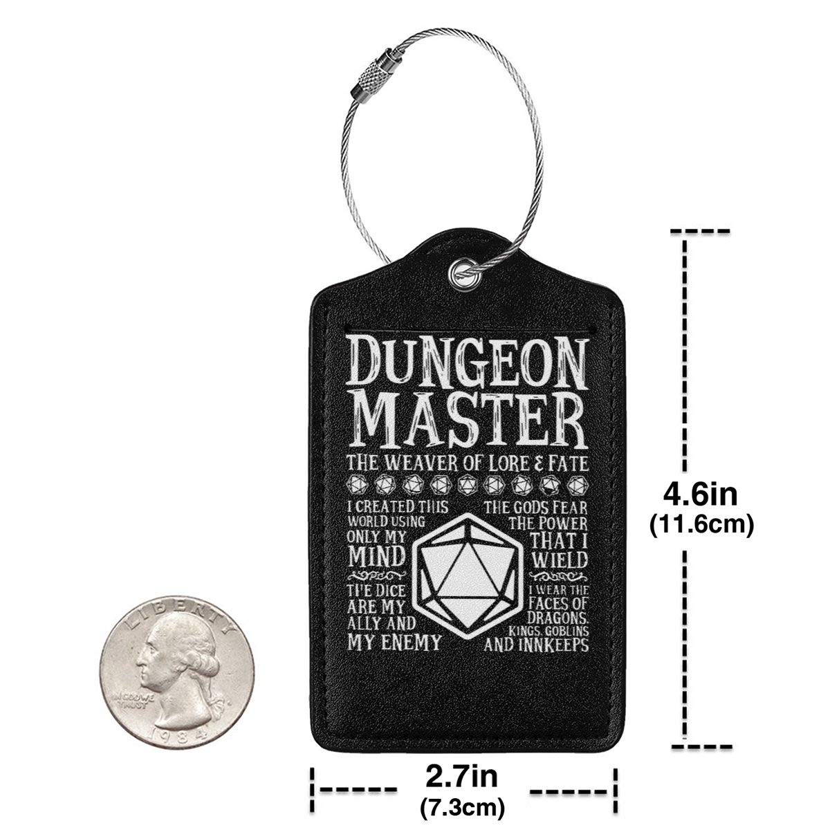 The Weaver Of Lore /& Fate Dungeons /& Dragons Leather Luggage Tag Travel ID Label For Baggage Suitcase Dungeon Master