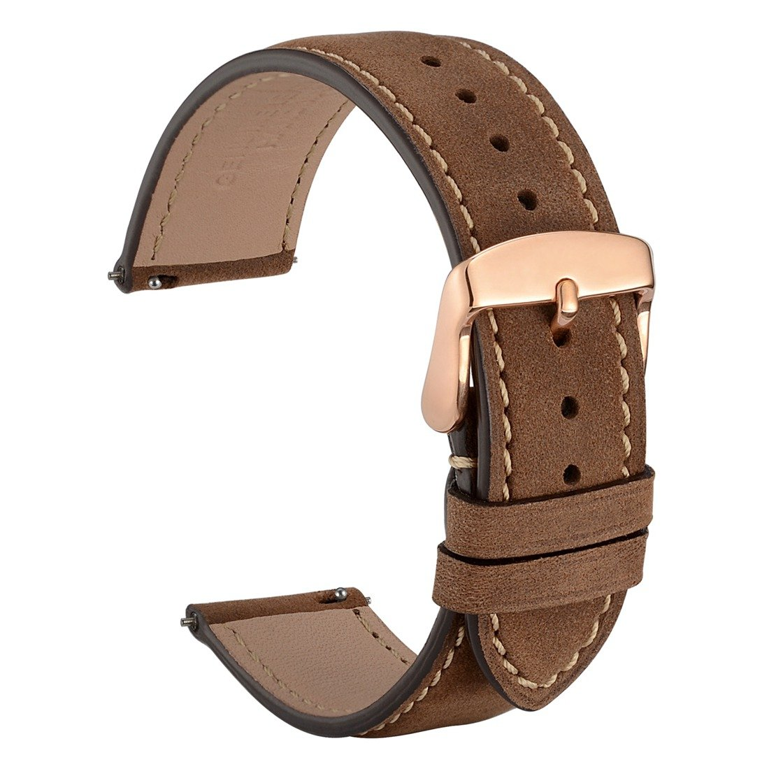 WOCCI 18mm Suede Vintage Leather Watch Band with Rose Gold Buckle, Quick Release Strap (Dark Brown with Contrasting Seam) by WOCCI