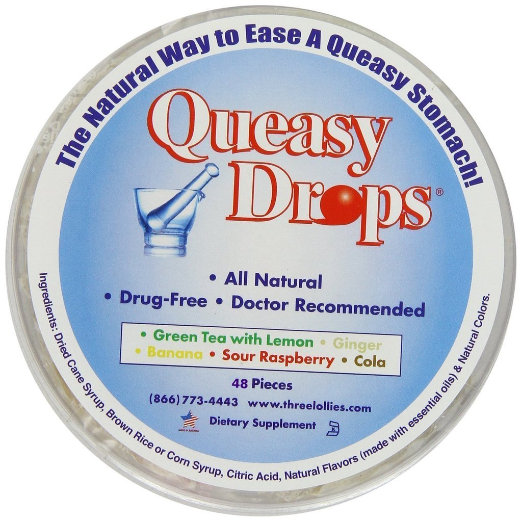 Three Lollies Assorted Queasy Drops for Nausea Relief, 48 Count by Three Lollies