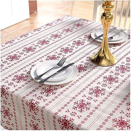 ZHAOXIANGXIANGMantel De Navidad Simple Imitación Sábanas De Algodón Poliéster Rojo Nieve Impresión Té Mantel Mantel,100X140Cm.: Amazon.es: Hogar