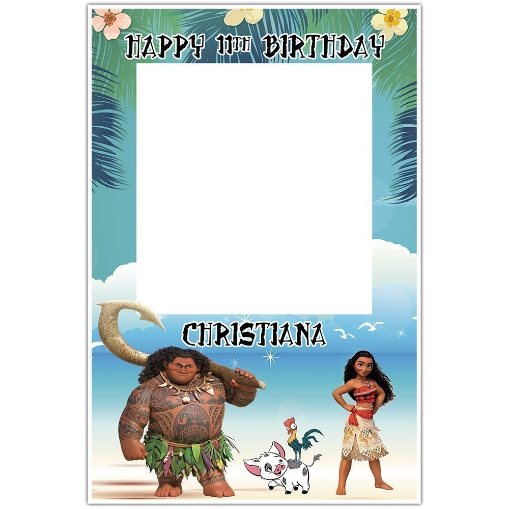 Moana Birthday Selfie Frame Social Media Photo Booth Prop Poster