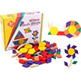 Onshine Wooden Pattern Blocks Puzzle Games Educational Toys for Children(Set of 125)