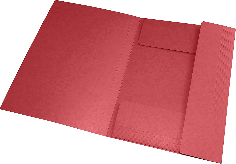 Lot de 10 Chemises Cartonn/ées 3 Rabats Format A4 fermeture Elastiques Oxford Topfile Pochettes Couleur Rouge Fonc/é