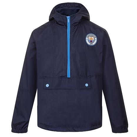 Manchester City FC - Chaqueta cortavientos oficial - Para niño - Impermeable - Estilo retro: Amazon.es: Ropa y accesorios