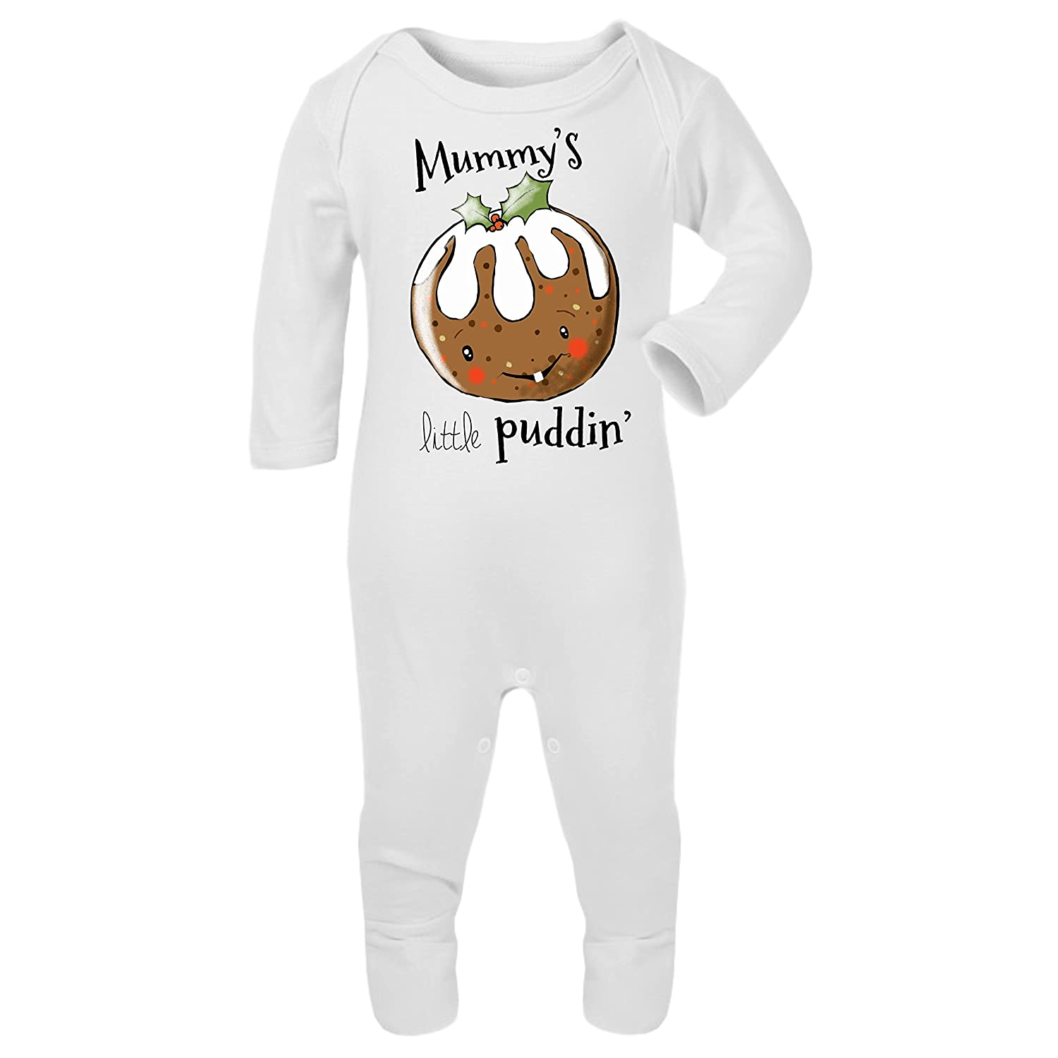 The T Bird Mummys Little Puddin Romper Suit Christmas Jumper Xmas Gift Xmas Rustic Pudding First Christmas 1st Xmas Sleep Suit