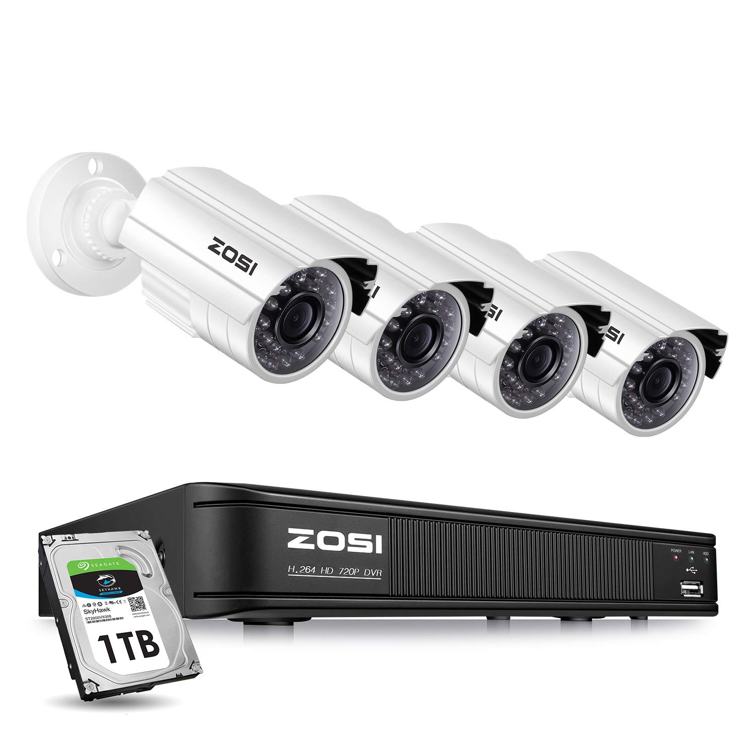 ZOSI Home Security Camera System Outdoor Indoor, 1080p Lite/720p Security DVR 8 Channel with Hard Drive 1TB and 4 x 720p Surveillance Bullet Camera, Remote Access, Motion Detection by ZOSI