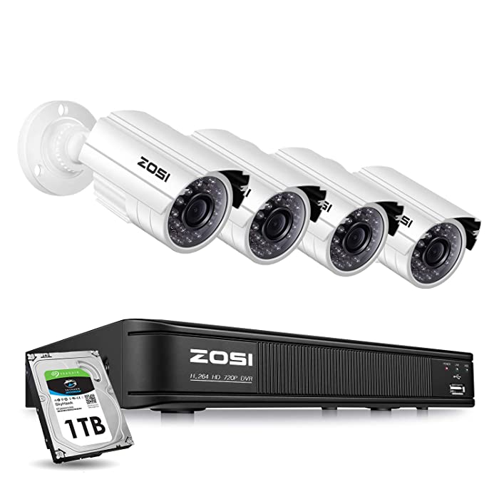 ZOSI Home Security Camera System Outdoor Indoor, 1080p Lite/720p Security DVR 8 Channel with Hard Drive 1TB and 4 x 720p Surveillance Bullet Camera, Remote Access, Motion Detection