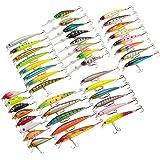 Andoer 43 peças de tamanhos variados Minnow iscas de pesca com mosca Pencil Popper Crankbaits Wobbler para pesca de carpas Ki