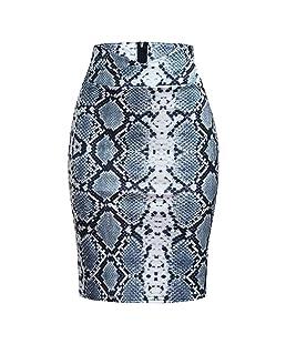 WM & MW Ladies Skirt, Women High Waisted Short Skirt Fashion Sexy Snake Print Skirt Bodycon Hip Pencil Skirt (XL, Silver)