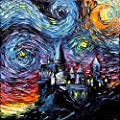 Harry Potter Inspired SIGNED Art Print - Starry Night Hogwarts Castle - van Gogh Never Saw Hogwarts - Art by Aja 8x8 inches