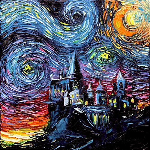 Harry Potter Inspired SIGNED Art Print - Starry Night Hogwar