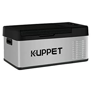 KUPPET Portable Refrigerator/Freezer 16Qt, Car Fridge, Dual Temperature Electric Cooler for Truck Party, Travel, Picnic Outdoor, Camping and Home use -12/24V DC and 100-240V AC, -4°F ~ 68°F