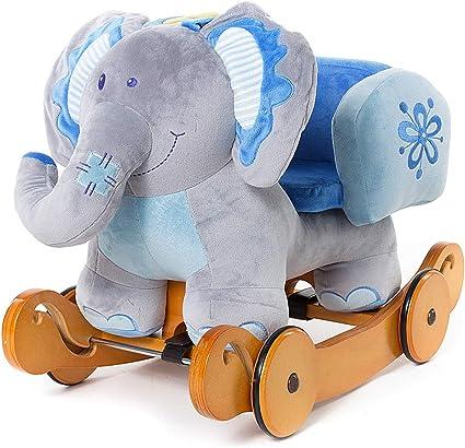 Cheval à Bascule Enfant, Bleu Éléphant Bascule Bois avec