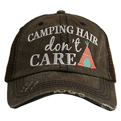 Katydid Camping Hair Don t Care Women s Trucker Hat-brown coral at Amazon  Women s Clothing store  d38c3281c207
