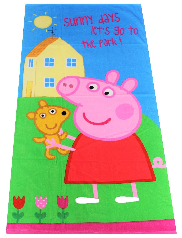 100/% Baumwolle Jungen und M/ädchen Peppa Wutz Peppa Pig Handtuch Badetuch Sunny Days Lets go to The Park Spruch 70 x 140 cm f/ür Kinder