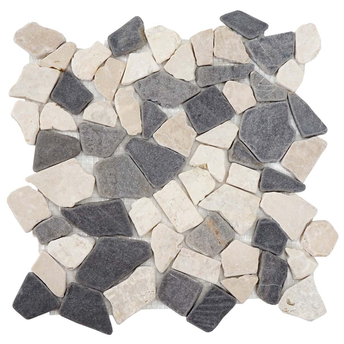 11 St/ück je 30x30cm = 1qm ~ grau-wei/ß Mendler Steinfliesen Vigo T687 Marmor Naturstein-Fliese Mosaik