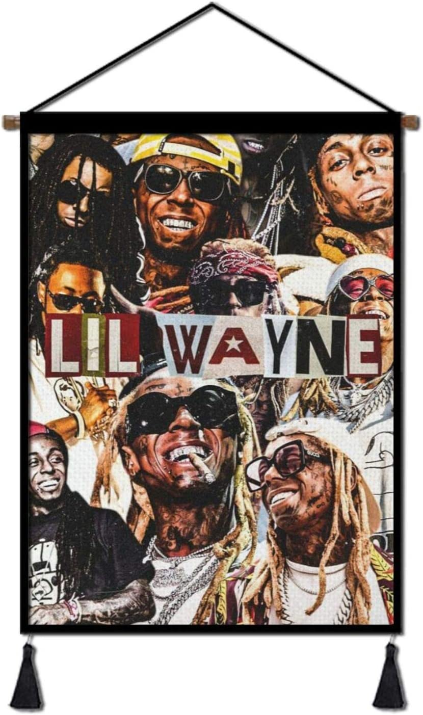 Lil Way-ne Tapestry Hanging Poster Canvas Wall Art,Rapper Hip Hop Artwork Painting Plush Scroll With Tassels, Decoration for Home, Dorm , Office & Comic Exhibition (18''Wx26''H)