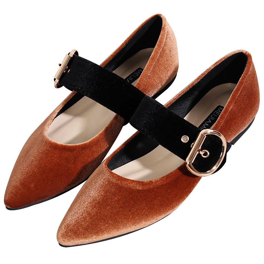 Jamron Mujer Estilo Estilo Estilo Retro Ajustable Color de Contraste Correa de Hebilla Mary Janes Suave Terciopelo Dedo Punteado Zapatillas de Ballet 24fbf1
