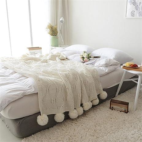Amazon.com: Pompom Fringe Throw Blanket, Super Soft Acrylic ...