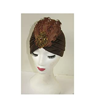 Brown /& Bronze Feather Turban Cloche Hat Vintage 1920s 40s Flapper Headpiece R38