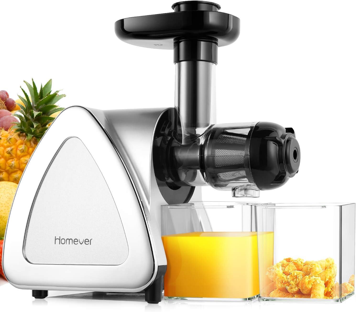 Homever Licuadora prensado frio, extractor de zumo licuadoras para verduras y frutas boca ancha extractor de jugo con motor silencioso función inversa (78mm)