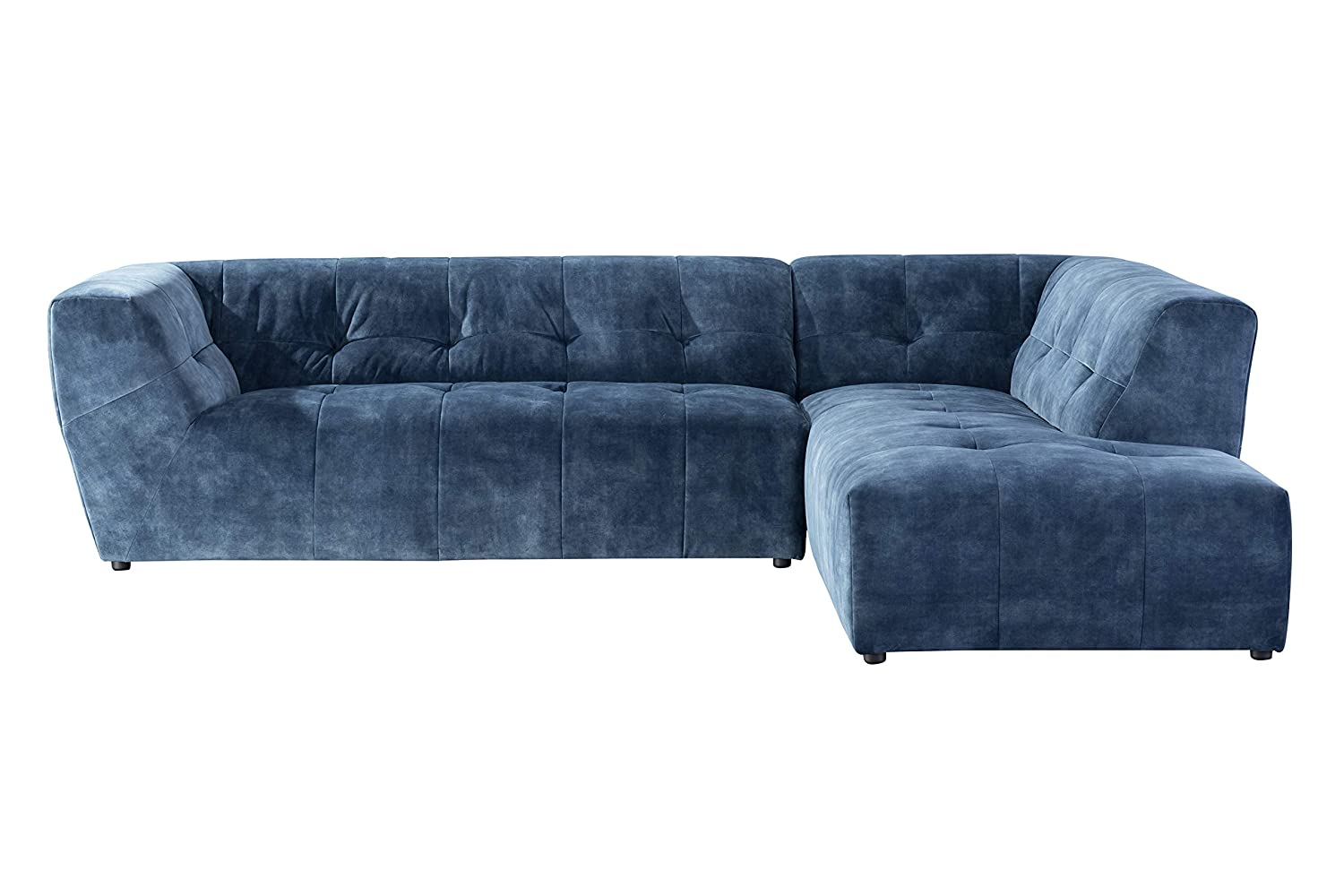Acanva Collection Luxury Mid-Century Tufted Low Back Right Facing Sectional Sofa L-Shape Couch, Navy Blue
