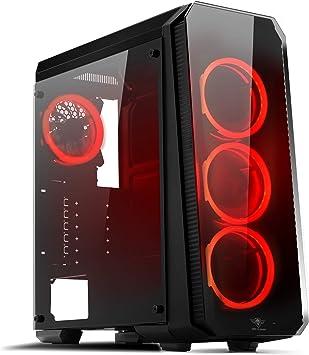 Spirit Of Gamer- Deathmatch 8 - Caja de PC - 4 Dual Ring LED RGB - PC Gaming Wall y Frontal en Vidrio Templado (Rojo): Amazon.es: Informática