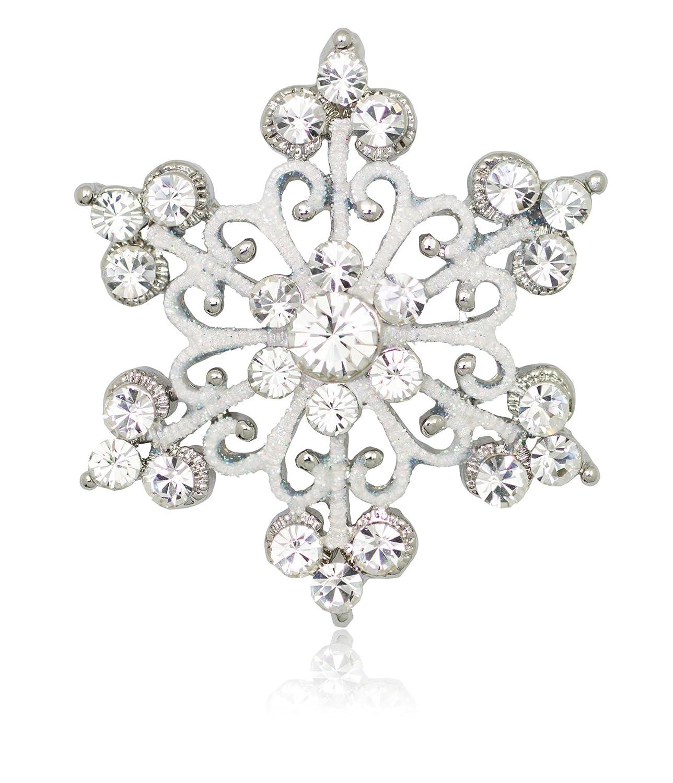 Silver Crystal Scroll Snowflake Pin