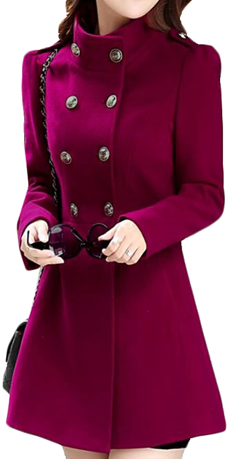 Domple Womens Basic Turtleneck Double-Breasted Slim Fit Anorak Coat Wine red M