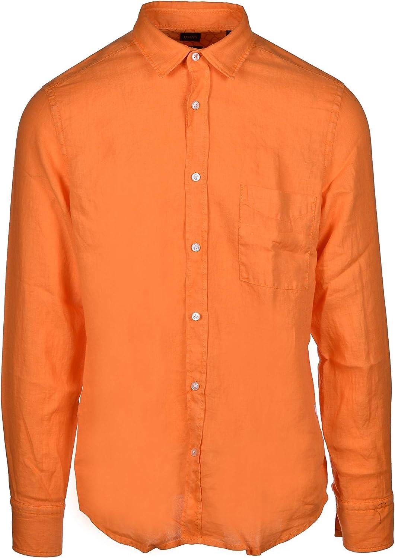 Hugo Boss Relegant - Camisa de lino con solapas de animales, color naranja: Amazon.es: Ropa y accesorios