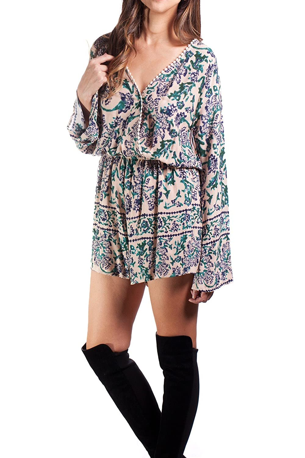Dazly Juniors Exotic Plunge Macrame Trim Long Sleeve Romper Playsuit