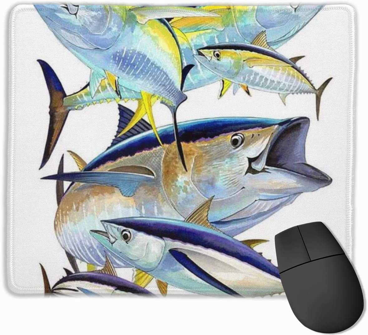 FGERTSAD Tuna Funny Mouse Pad with Stitched Edge Mouse Mat Non-Slip Rubber Base 9.85 X 11.8 Inch Office Mousepad for Laptop Computer /& PC Mouse Pads