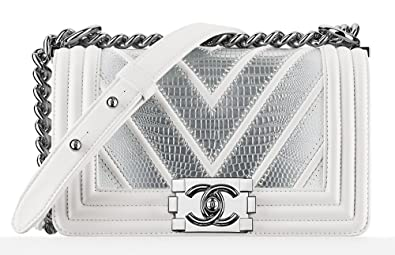 c5e1c019c4d7 Image Unavailable. Image not available for. Colour: New Chanel Lizard White  & Silver Boy Flap Bag