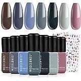 Gel Nail Polish Set Spring Gel Polish 7Pcs Gray Colors Holiday Soak Off Gel Nail Kit Nail Art Manicure Salon Collection by Mo