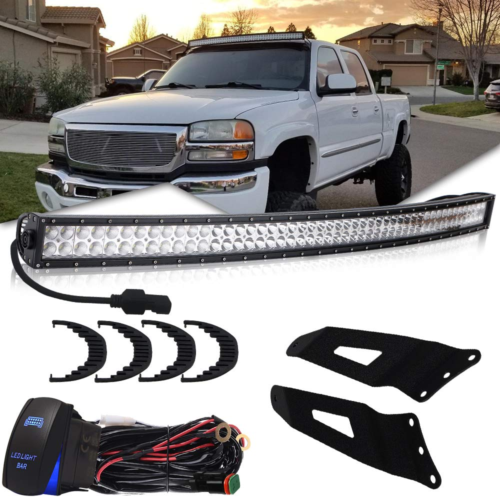 50inch Curved Led Light Bar W Mounting Brackets Kit Chevy