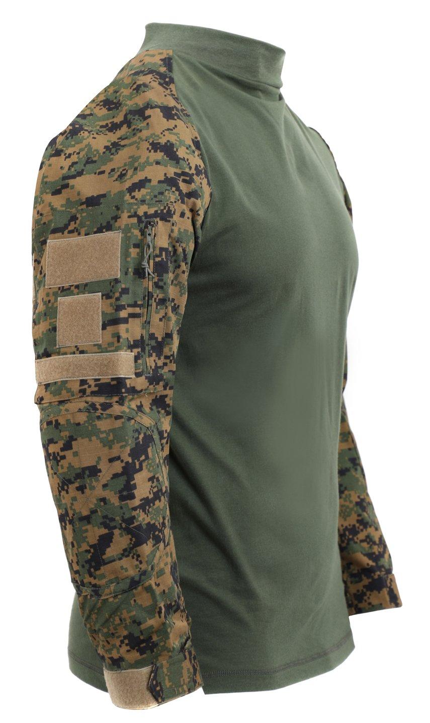 Rothco Tactical Airsoft Combat Shirt, Woodland Digital Camo, L