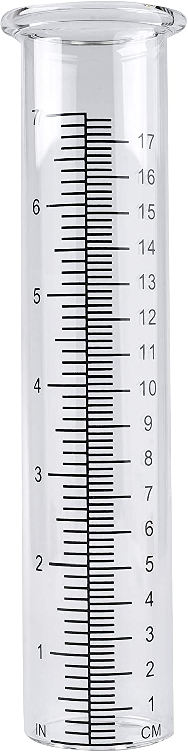 """TBWHL 7"""" Capacity Rain Gauge Glass Replacement Tube for Yard Garden Outdoor Home (1Pcs)"""