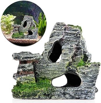 ecmq Mountain View piedra Jardín Acuario Rock Cave algodón Puente Acuario Ornament Decoración Nueva: Amazon.es: Coche y moto