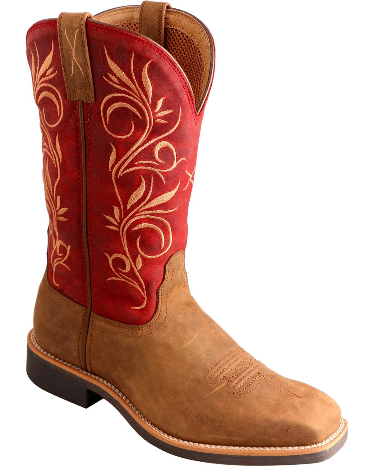 Twisted X Womens Red Leather 11in Distressed Top Hand Cowboy Boots 6.5B