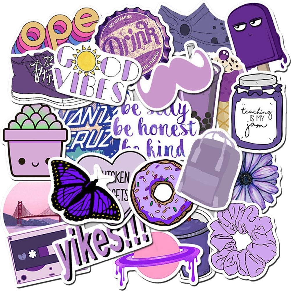 VSCO Purple Stickers for Water Bottles,50 Pcs Trendy Vinyl Aesthetic Stickers for Laptop Hydroflasks,Laptop,Phone,Travel Extra Durable Vinyl