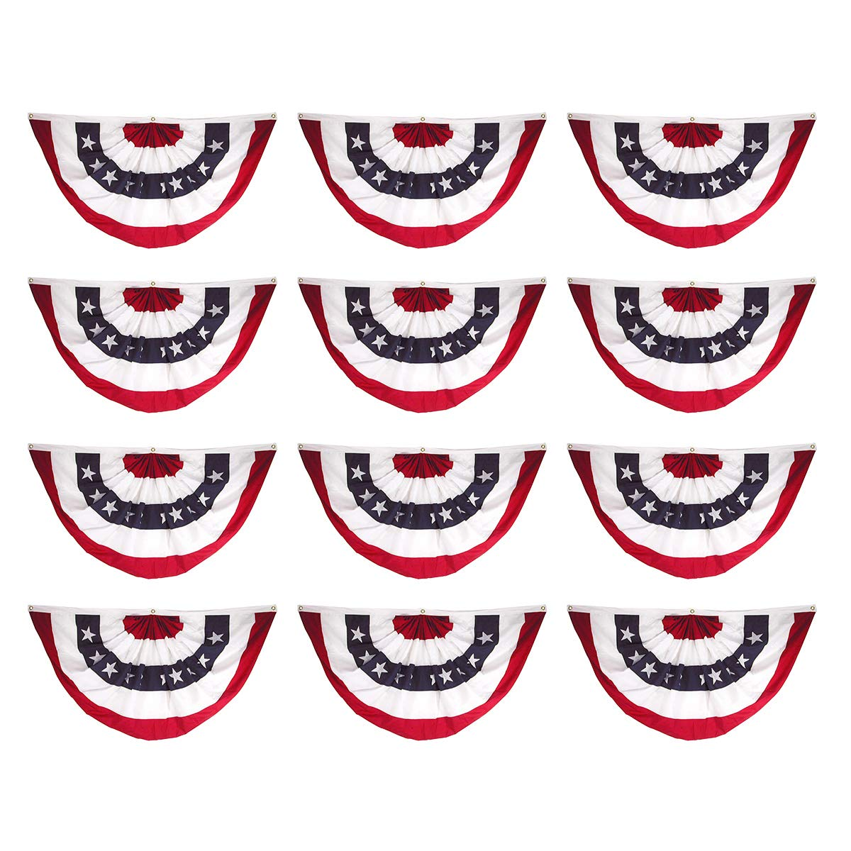 Super Tough 12-Pack, 18in x 36in Sewn Polyester Pleated Fan Flag Bunting