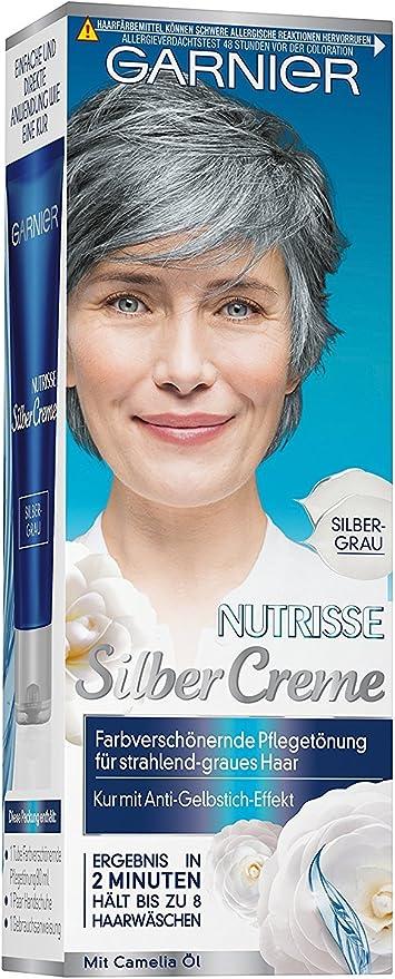 Garnier Nutrisse - Crema de color gris plata, contenido: 80 ml, tinte embellecedor para cabello gris radiante