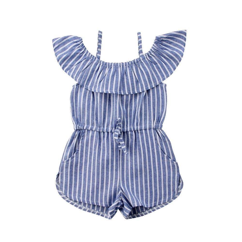 Toddler Little Girl Demin Off Shoulder Ruffle Pocket Romper Jumpsuit Clothes Set (Blue(Stripe), 2-3T)