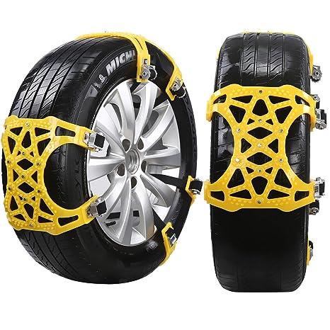 HUKOER 6 Cadenas de Nieve para neumáticos de Coches / Camiones / SUV, Cadenas universales