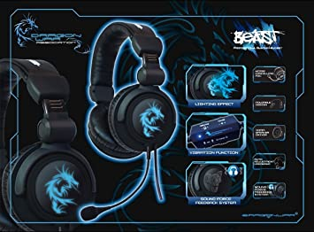 Mobility Lab Beast Pc Gaming Headset Black With Dragon War Motif