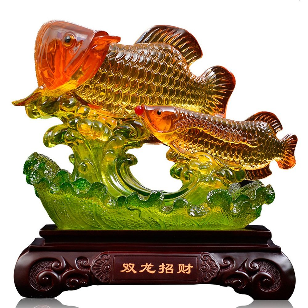 LXYFMS SsangYong Lucky Gold Dragon Fish Ornaments Large Home Living Room Decorations Moved to New Home Opening Gift 37x20x36.5cm Crafts
