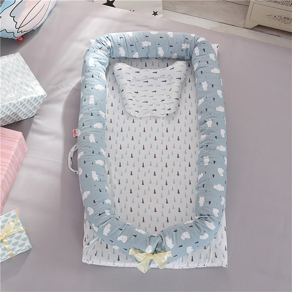Ukeler Baby Nest Bed, Baby Co-Sleeping Cribs & Cradles Lounger Cushion with 100% Un-Dyed Organic Cotton Cover - Perfect for Cuddling, Lounging - Breathable & Hypoallergenic - Safety Sleeping